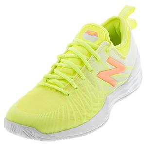 Women`s Fresh Foam LAV D Width Tennis Shoes Lemon Slush and White