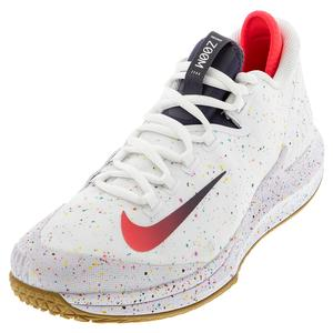 Men`s Air Zoom Zero Tennis Shoes White and Laser Crimson