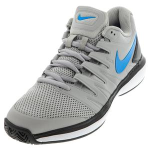 Men`s Air Zoom Prestige Tennis Shoes Light Smoke Grey and Blue Hero