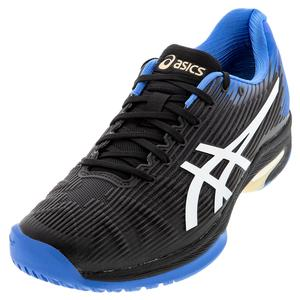 Men`s Solution Speed FF Tennis Shoes Black and Blue Coast