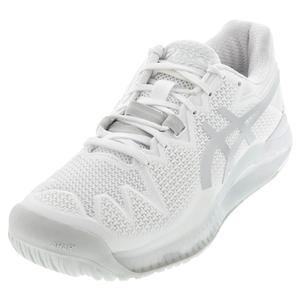 Men`s GEL-Resolution 8 Tennis Shoes White and Pure Silver