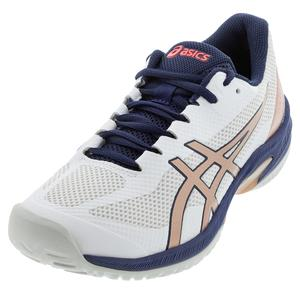 Women`s Court Speed FF Tennis Shoes White and Rose Gold