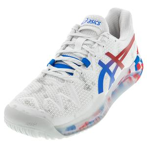 Women`s GEL-Resolution 8 Retro Tokyo Tennis Shoes White and Electric Blue