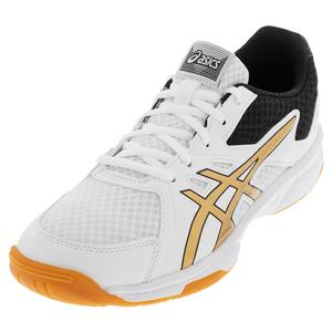 Women`s Upcourt 3 Squash Shoes White and Pure Gold