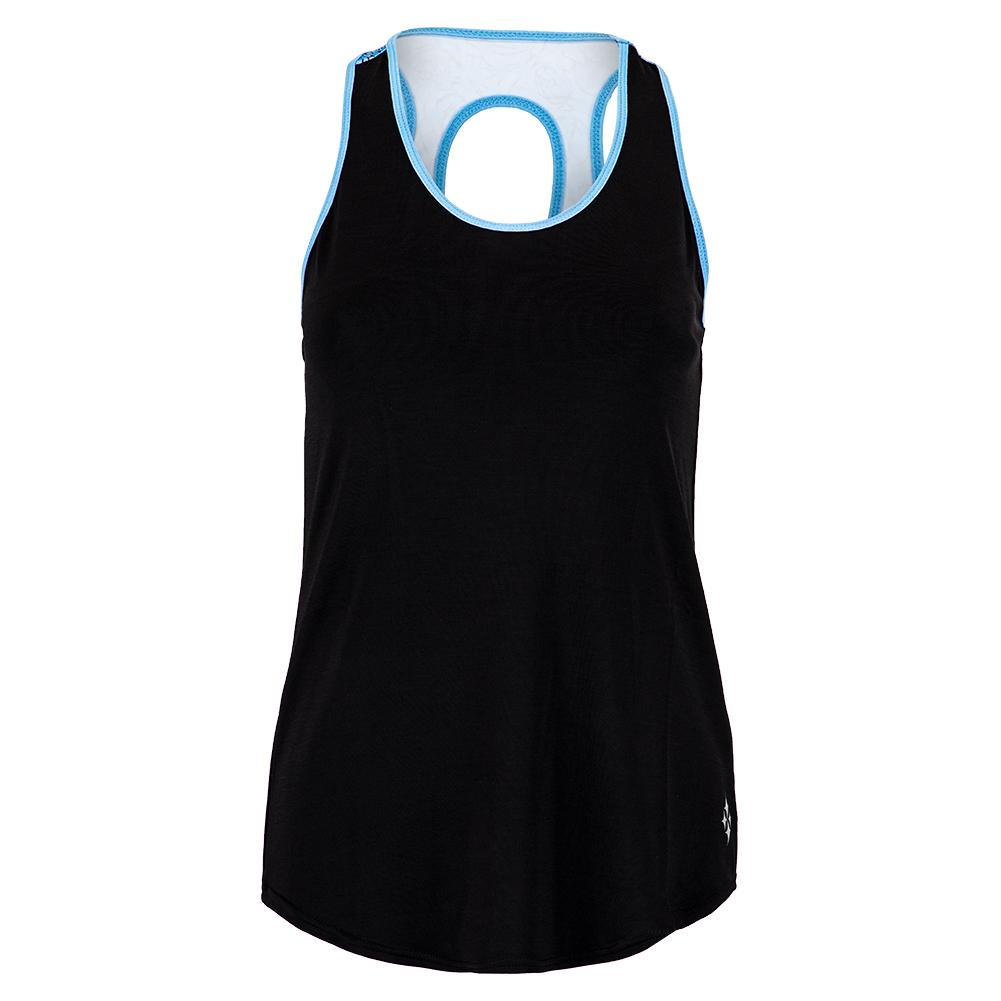 Women's Keyhole Back Tennis Tank Black
