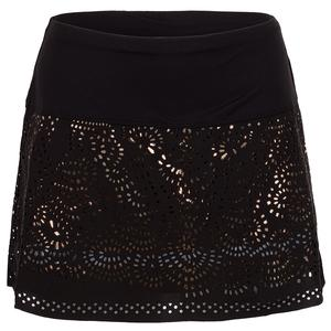 Women`s Long Laser Shine Tennis Skort Black and Rose Gold