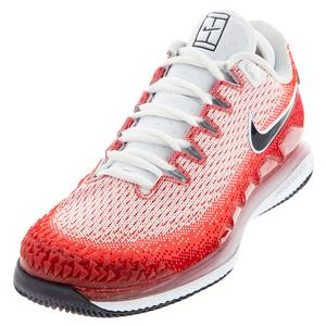 Men`s Air Zoom Vapor X Knit Tennis Shoes Laser Crimson and Gym Red