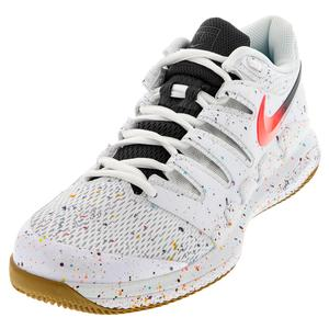 Men`s Air Zoom Vapor X Tennis Shoes White and Laser Crimson