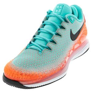Men`s Air Zoom Vapor X Knit Tennis Shoes Aurora Green and Hyper Crimson