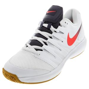 Men`s Air Zoom Prestige Tennis Shoes White and Laser Crimson