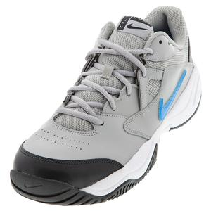 Men`s Court Lite 2 Tennis Shoes Light Smoke Grey and Blue Hero