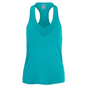 Women`s Wavy V-Neck Tennis Tank with Bra Teal