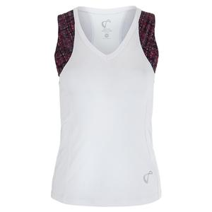 Women`s Baseline V-Neck Tennis Tank White and Garnet Hatch