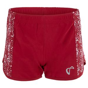 Girls` Serve Tennis Short Garnet and Appaloosa