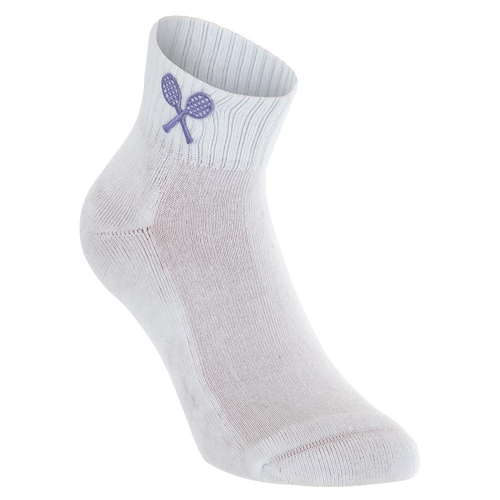 Girls ` Tennis Socks White With Lilac Racquets