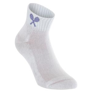 Girls` Tennis Socks White with Lilac Racquets