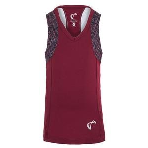 Girls` Baseline V-Neck Tennis Tank Garnet and Hatch