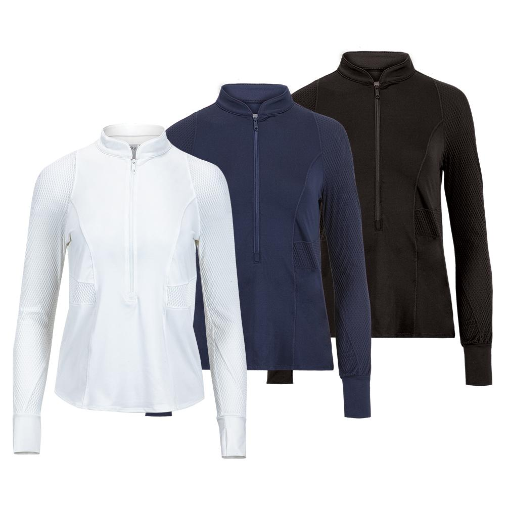 Women's Wavy 3/4 Long Sleeve Tennis Zip