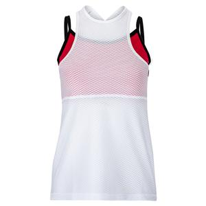 Women`s Overlay Tennis Tank White and Berry Red