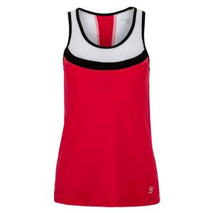 Women`s Full Back Tennis Top Berry Red and White