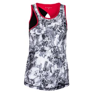Women`s High Neck Tennis Top Vintage Floral and Black
