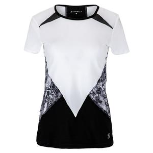 Women`s Short Sleeve Tennis Top White and Black