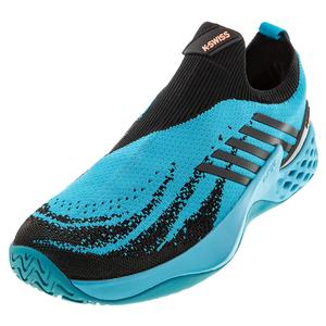 Men`s Aero Knit Tennis Shoes Algiers Blue and Black