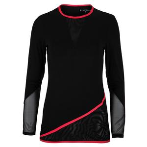 Women`s Long Sleeve Tennis Top Black and Berry Red Trim