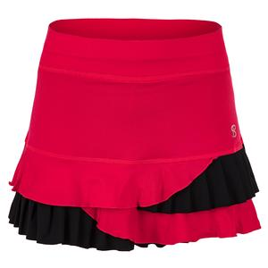 Women`s 13 Inch Tennis Skort Berry Red and Black