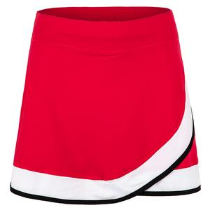 Women`s 15 Inch Tennis Skort Berry Red and White