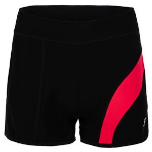 Women`s 3.5 Inch Tennis Short Black and Berry Red