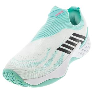 Women`s Aero Knit Tennis Shoes White and Aruba Blue