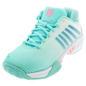 Women`s Hypercourt Express 2 Tennis Shoes Aruba Blue and White