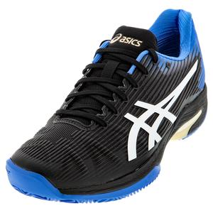 Men`s Solution Speed FF Clay Tennis Shoes Black and Blue Coast