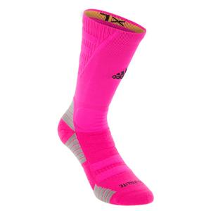 Alphaskin Maximum Cushioned Crew Socks Shock Pink and Black