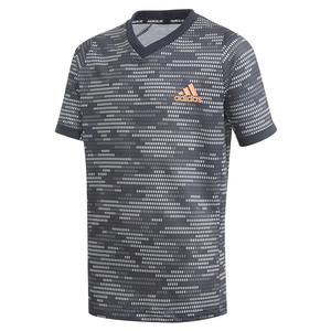 Boys` Primeblue FreeLift Tennis Top Black and True Orange