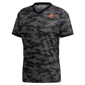 Men`s Primeblue FreeLift Tennis Top Black and True Orange