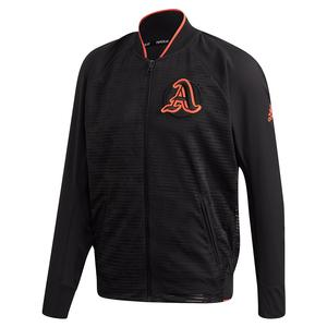 Men`s Primeblue Varsity Tennis Jacket Black and True Orange