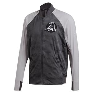 Men`s Primeblue Varsity Tennis Jacket Grey Two and Six