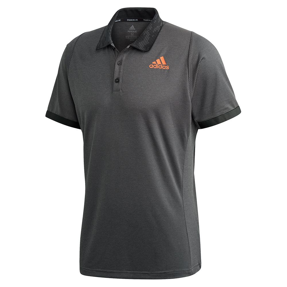 Men's Primeblue Freelift Tennis Polo Grey Six And True Orange