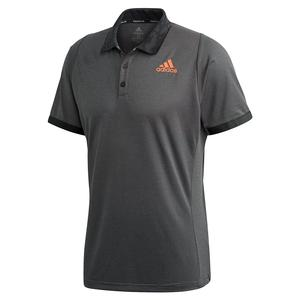 Men`s Primeblue FreeLift Tennis Polo Grey Six and True Orange