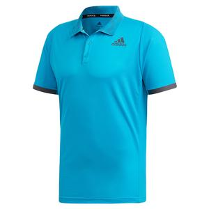 Men`s Primeblue FreeLift Tennis Polo Sharp Blue and Grey Two