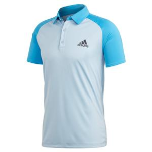 Men`s Club Color Block Tennis Polo Easy Blue and Fresh Splash