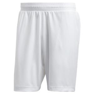 Men`s Primeblue Ergo 9 Inch Tennis Short White and Black