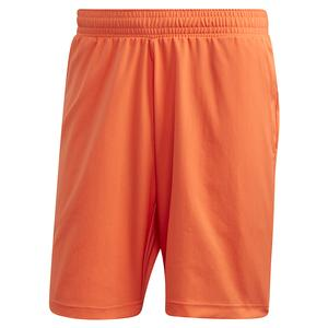 Men`s Primeblue 9 Inch Tennis Short True Orange and Black