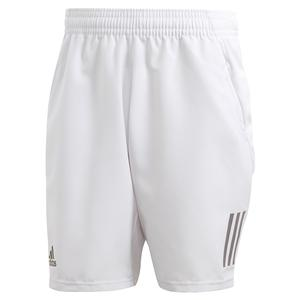 Men`s Club 3 Stripes 9 Inch Tennis Short Dash Grey and Grey Six