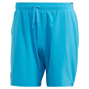 Men`s Club Stretch Woven 7 Inch Tennis Short Fresh Splash and Grey Six