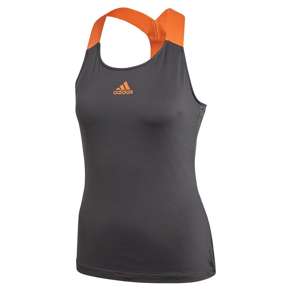 Women's Primeblue Y- Back Tennis Tank Grey Six And True Orange