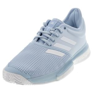 Women`s SoleCourt Boost Parley Tennis Shoes Easy Blue and White