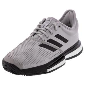 Men`s SoleCourt Boost Parley Tennis Shoes Gray Two and Core Black